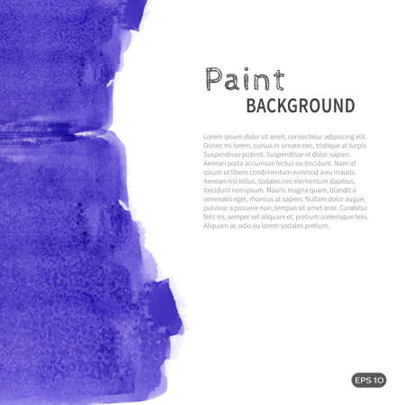 Bright handmade watercolor paint background. Blue stripes on white. Vector illustration with space for text.