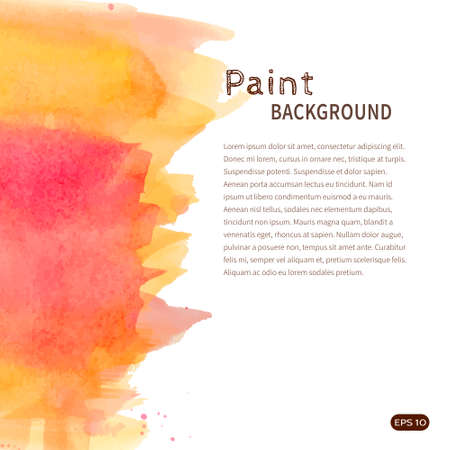 Bright handmade watercolor paint background. Orange and pink stains on white. Vector illustration with space for text. Illustration