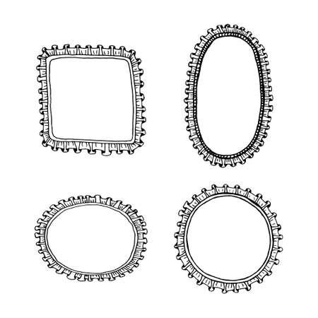 frill: Hand drawn frill  frames set. Illustration