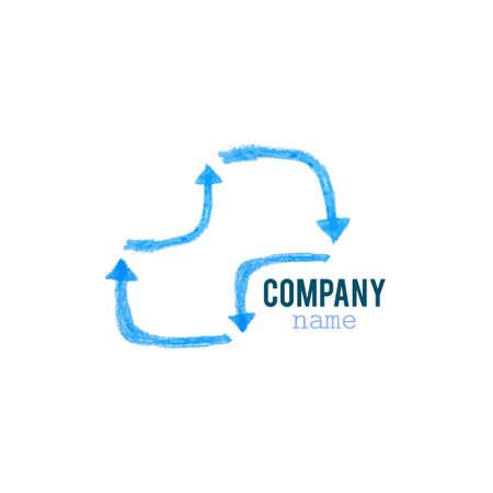 blue arrow: Blue arrow infinity business vector logo design.