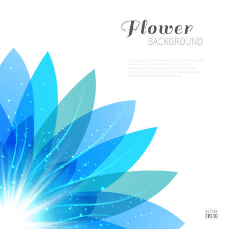 neon plant: Blue transparent flower with glowing particles on white background. Vector illustration with space for text. Illustration