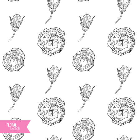 briar: Briar rose sketch seamless pattern. Black outline on white background. Vector illustration. Illustration