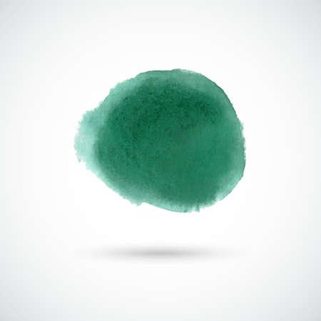 green hand: Emerald green hand drawn watercolor circle. Vector design element. Illustration