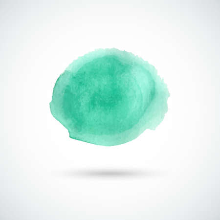 green hand: Turquoise green hand drawn watercolor circle. Vector design element.