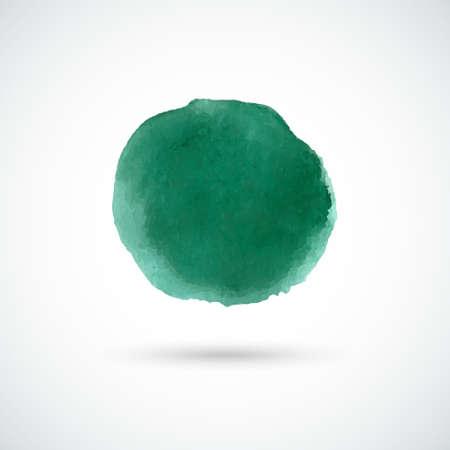 Emerald green hand drawn watercolor circle. Vector design element. Illustration