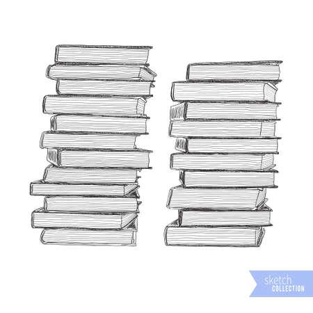 Hand drawn stack of books. Black outline on white background. Vector illustration.