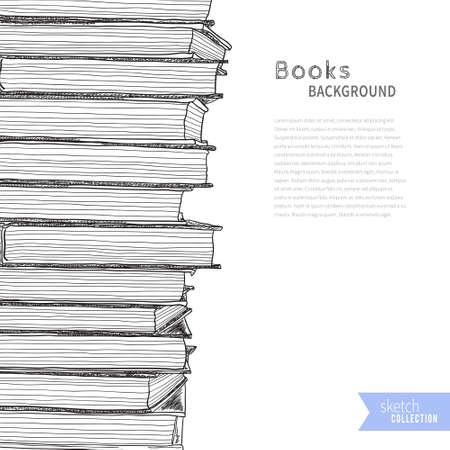 Pile of books. Sketch on white background. Vector illustration . Illustration