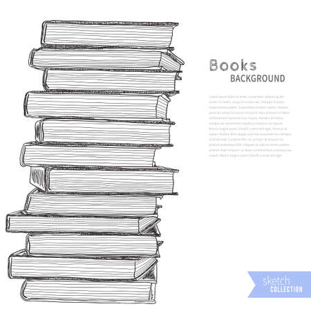 bookshop: Pile of books. Sketch on white background. Vector illustration . Illustration