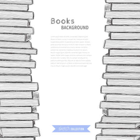 Pile of books. Sketch on white background. Vector illustration . Stock Illustratie