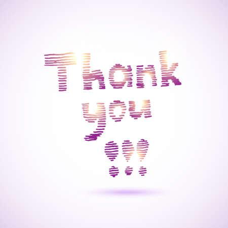 Thank you lettering. Striped hand drawn design. Vector illustration. Illustration