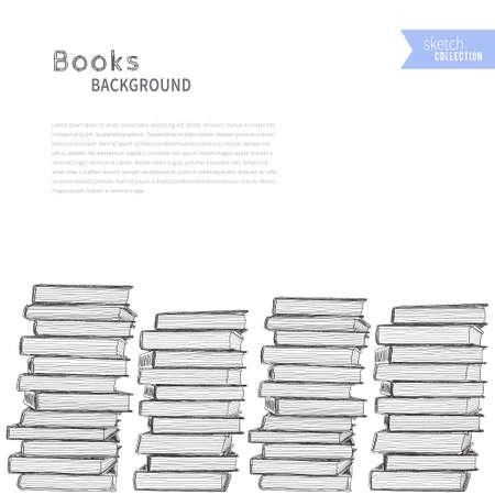 bookshop: Pile of books on white background. Vector illustration .