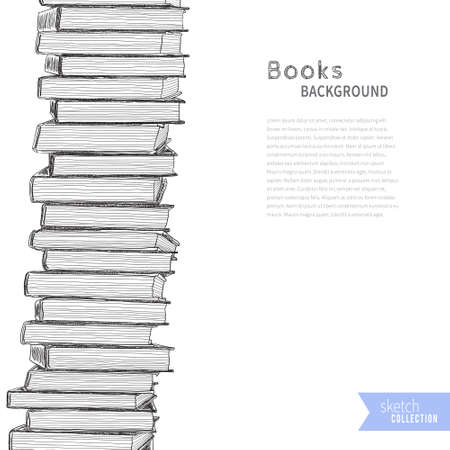 Pile of books on white background. Vector illustration .