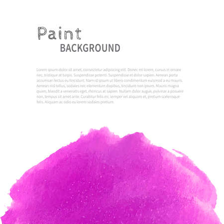 Bright handmade watercolor paint background. Magenta on white. Vector illustration with space for text.