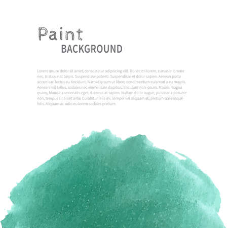 Bright handmade watercolor paint background. Turquoise on white. Vector illustration with space for text.