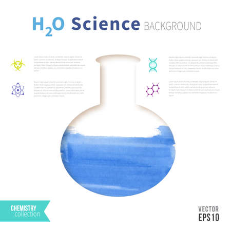 h2o: Chemistry science concept design template for infographics. Test tube with water. H2O watercolor design.