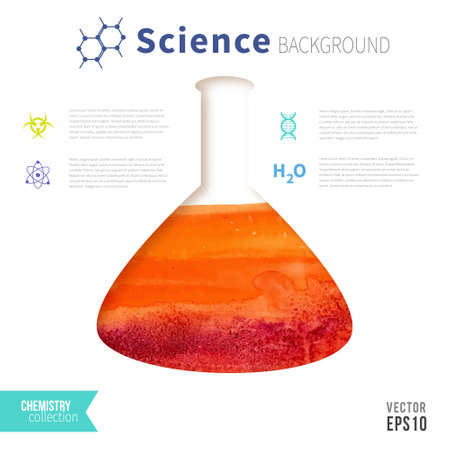 boiling tube: Chemistry science concept design template for infographics. Test tube watercolor design.