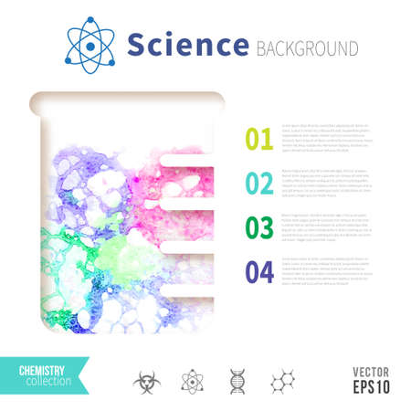 boiling tube: Chemistry science concept design template for infographics. Watercolor bubbles in test tube.