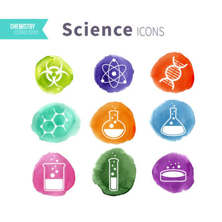 Science icons set on watercolor varicolored spots. Vector illustration. Stock Illustratie
