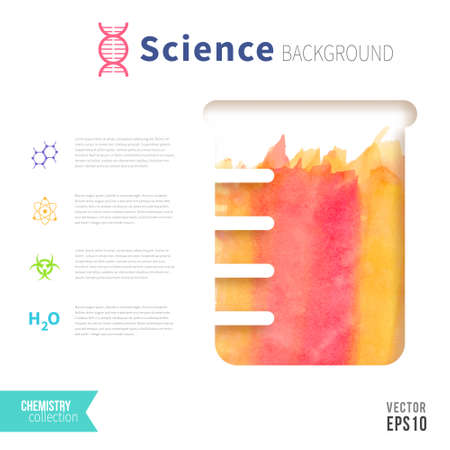 boiling tube: Chemistry science concept design template for infographics. Watercolor texture in test tube. Orange and pink color.
