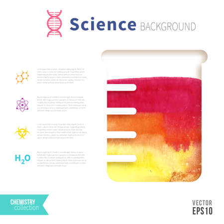 boiling tube: Chemistry science concept design template for infographics. Watercolor texture in test tube. Vibrant pink, orange, yellow color.