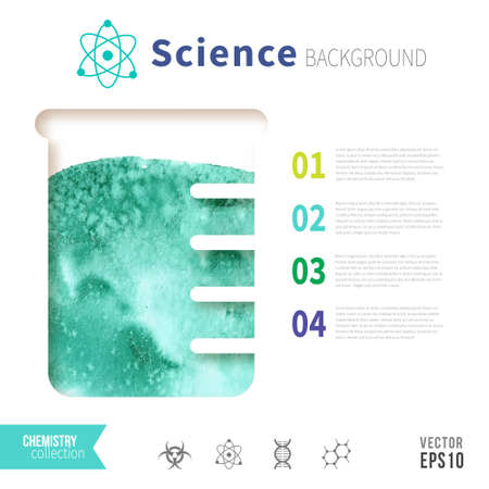 green chemistry: Chemistry science concept design template for infographics. Watercolor texture in test tube. Emerald green color.