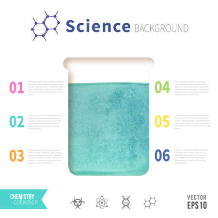 emerald: Chemistry science concept design template for infographics. Watercolor texture in test tube. Emerald green color.