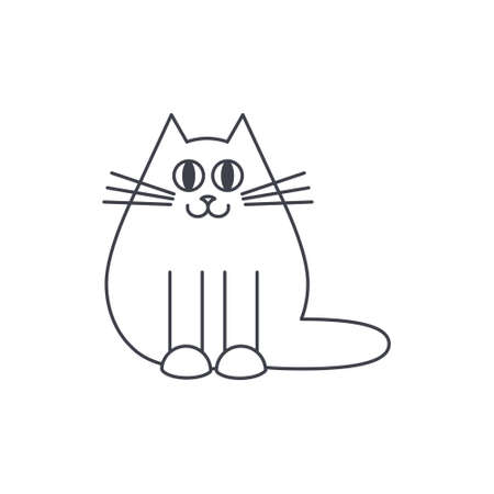 Happy thick fluffy domestic smiling cat. line icon on white background.