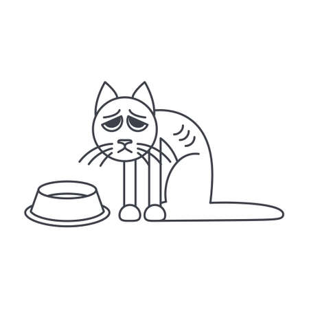 Poor hungry cat sits near empty bowl. line icon isolated on white background.