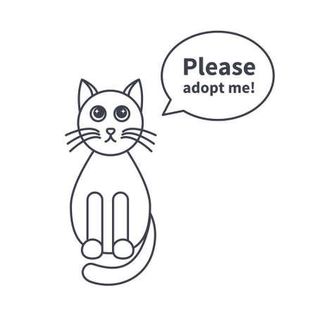 text bubble: Adult cat asks adopt it. Image with speech bubble. Template with place for text. line icon isolated on white background.