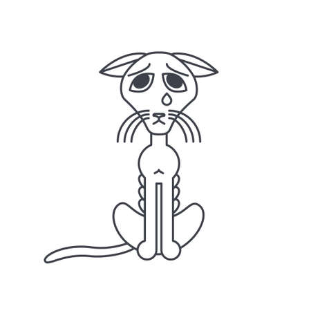 Poor emaciated cat crying alone. line icon isolated on white background.