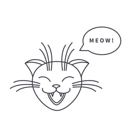 meow: Happy cat says meow. Cat face with speech bubble. line icon isolated on white background.