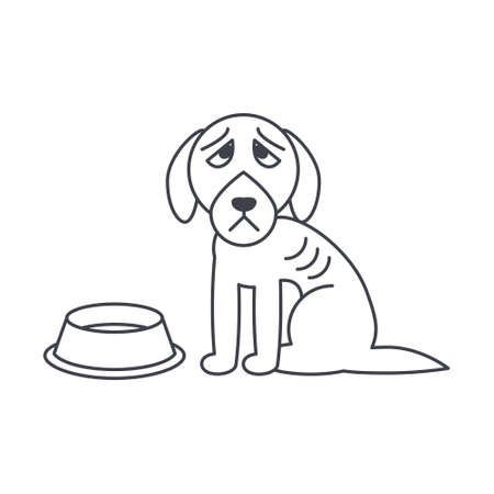 feed the poor: Poor hungry dog sits near empty bowl. Dog adoption concept. Vector line icon isolated on white background. Illustration