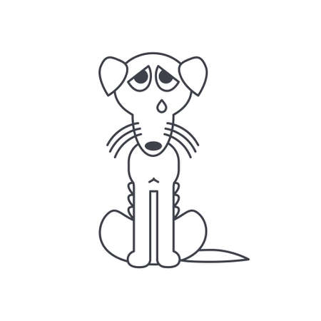 bony: Poor homeless, lost, emaciated, bony dog crying alone. Dog adoption concept.  Vector line icon isolated on white background.