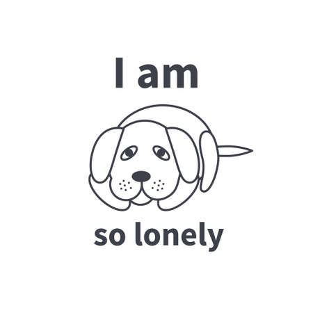 sad dog: Poor sad lonely dog waiting for its owner. Dog adoption concept. Vector line icon isolated on white background.