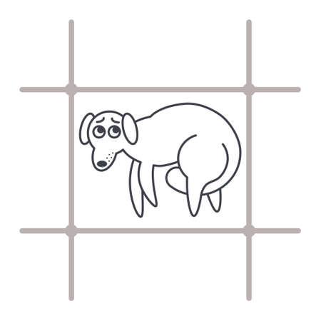 perro asustado: Pobre perro asustado tras las rejas. Concepto de la adopción del perro. Icono de la línea vector aislado en el fondo blanco.