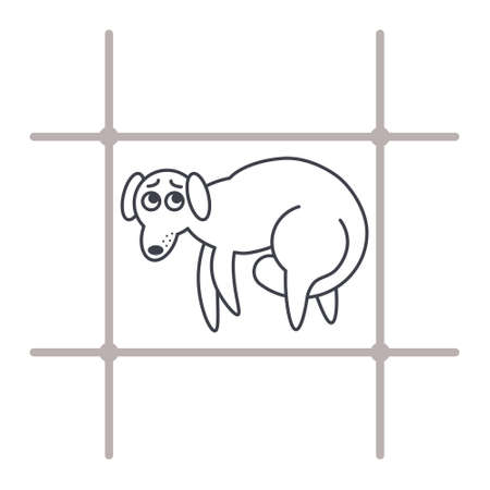 behind bars: Poor frightened dog behind bars. Dog adoption concept. Vector line icon isolated on white background. Illustration