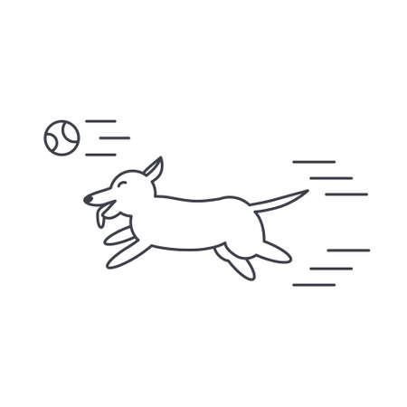adoption: Happy playing dog runs for the ball. Dog adoption concept. Vector line icon isolated on white background. Illustration