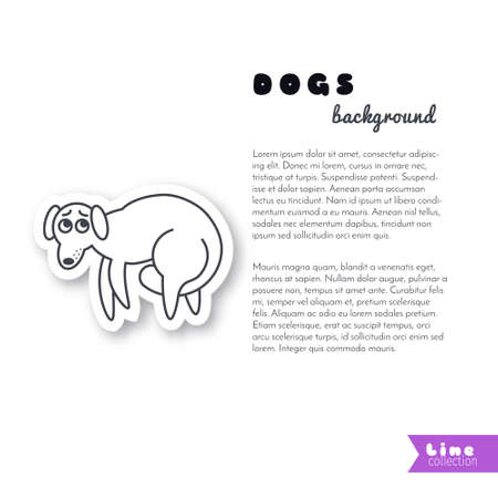 frightened dog: Poor frightened dog with a tail between its legs. Vector line sticker on white background. Page template for your design with space for text.