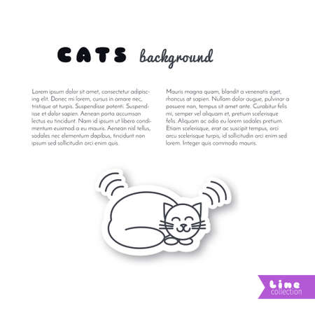 purring: Happy purring lying cat. Vector line sticker on white background. Page template for your design with space for text. Illustration