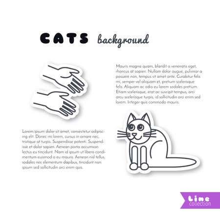 Good hands stretched to the cat. Vector line sticker on white background. Page template for your design with space for text.