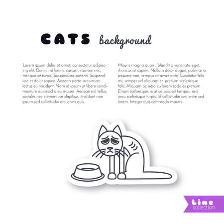empty bowl: Poor hungry cat sits near empty bowl. Vector line sticker on white background. Page template for your design with space for text. Illustration