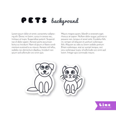 puppy and kitten: Puppy and kitten sits next to each other. Vector line sticker on white background. Page template for your design with space for text. Illustration