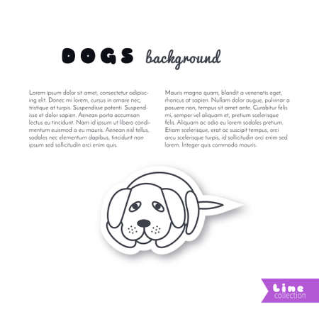 waiting line: Poor sad lonely dog waiting for its owner. Vector line sticker on white background. Page template for your design with space for text. Illustration