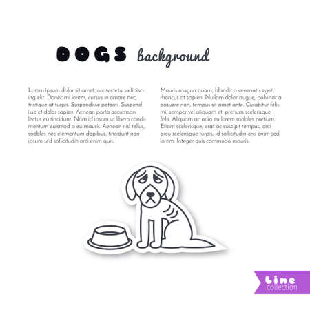 empty bowl: Poor hungry dog sits near empty bowl. Vector line sticker on white background. Page template for your design with space for text.