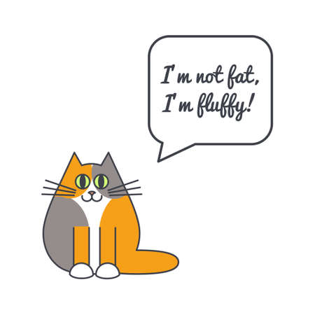 calico whiskers: Happy furry fat cat with speech bubble and saying. Vector color line illustration card on white background. You can put your own text in the bubble. Cat adoption concept.