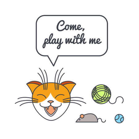 Playful happy cat with speech bubble and saying. Vector color line illustration card on white background. You can put your own text in the bubble. Cat adoption concept.