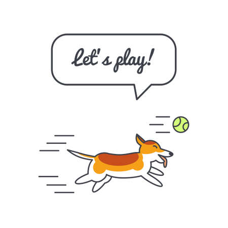 adoption: Happy playing corgi dog with speech bubble and saying.Vector color line illustration card on white background. You can put your own text in the bubble. Dog adoption concept.