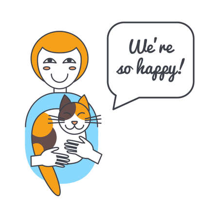 adoption: Happy cat and woman with speech bubble and saying.Vector color line illustration card on white background. You can put your own text in the bubble. Cat adoption concept. Illustration