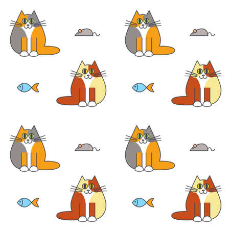 calico: Happy furry calico cats with mice and fishes. Vector line seamless pattern color on white background.