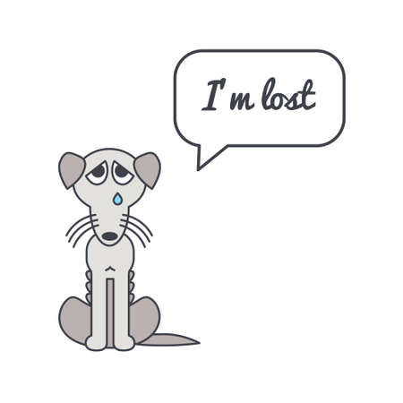bony: Bony poor lost dog with speech bubble and saying. Vector color line illustration card on white background. You can put your own text in the bubble. Dog adoption concept.